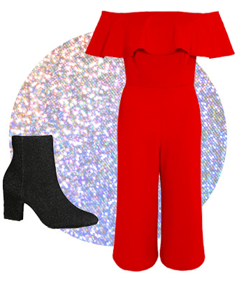 Dazzle in heeled boots and this bold red crepe jumpsuit with stunning Bardot neckline