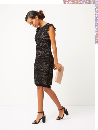 This lace dress features cap sleeves for added confidenceh