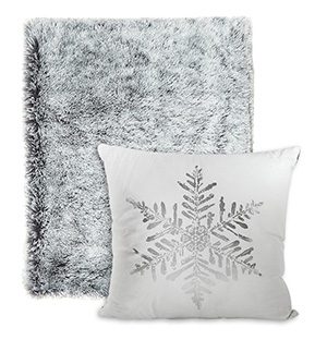 Mirror the icy setting outside with silver throws or cushions