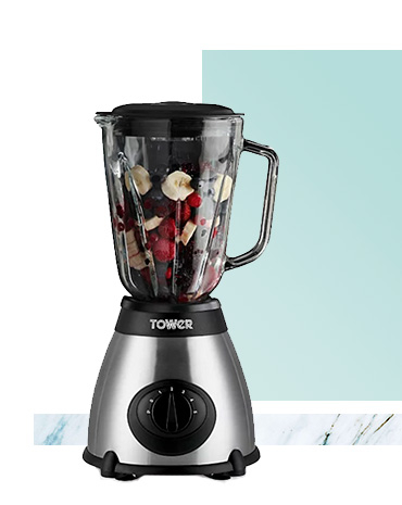 The Tower stainless steel glass jar blender is perfect for pureeing, emulsifying, blending and grinding