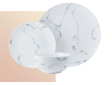 Bring a cool and contemporary update to your kitchen with pieces from our marble-effect dinnerware collection