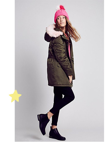 This green hooded parka is shower resistant and has a fleece-lined body for extra warmth
