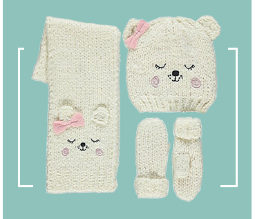 This knitted hat, scarf and gloves set has a snuggly lining to help keep out the cold and features an adorable cuddly bear design