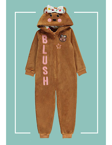 This Children in Need onesie has fluffy fleece fabric that's embroidered with a cute bear face