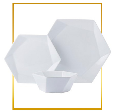 Our hexagonal dinnerware set will add a sleek update to your kitchen