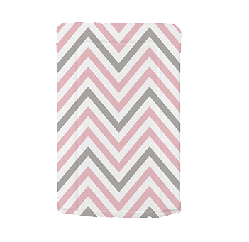 This pink and grey chevron patterned baby changing mat is soft, comfortable and stylish