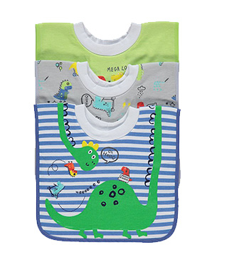 Keep little ones mess-free with this 3 pack of bibs, coming in an assortment of designs and colours