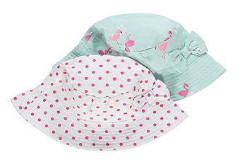 These hats come in white with pink polka dots and green with pink flamingos