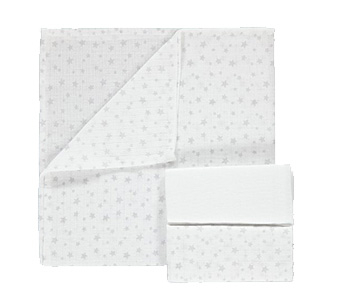Mop up everyday messes with this pack of 3 muslin squares