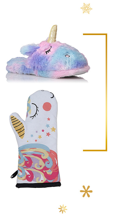 Shop unicorn slippers and oven glove