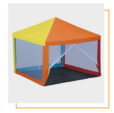 Set up a colourful gazebo in the garden for endless hours of fun
