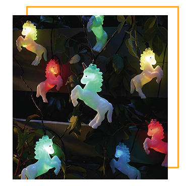 Add a colourful glow to the garden with these fun unicorn solar-powered lights