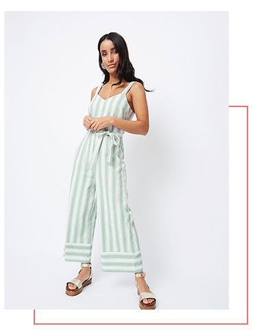 Channel a striped jumpsuit