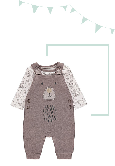 Made from 100% cotton, this Brown Woodland Bear Dungarees and Bodysuit Outfit will see them through the day in complete comfort