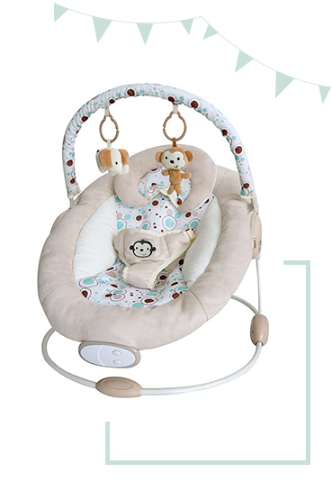 Bebe Style's ComfiPlus Floating Cradling Bouncer comes with soft toys and even plays soothing music lullabies