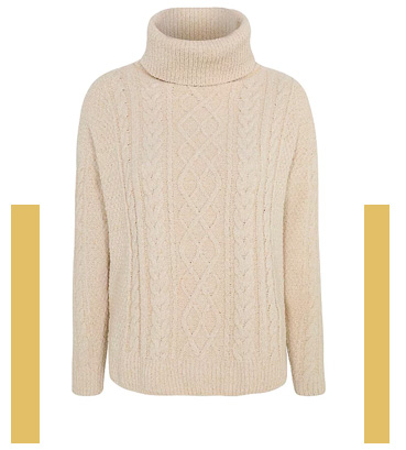 Cosy up with a beige roll neck jumper
