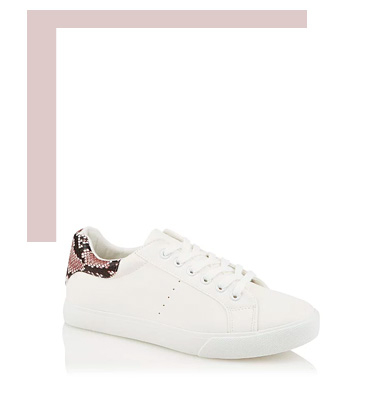 Shop white snakeskin trainers