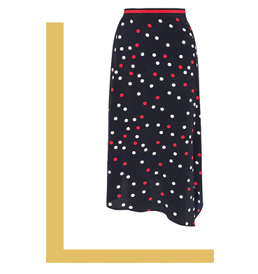 Make a statement with a polka dot aysmmetric skirt