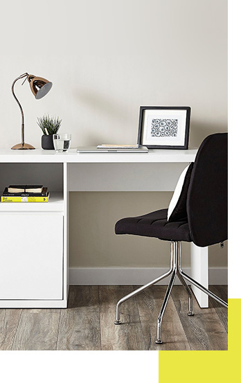 With a clean and contemporary finish, this Leighton desk is a fantastic choice for your study room