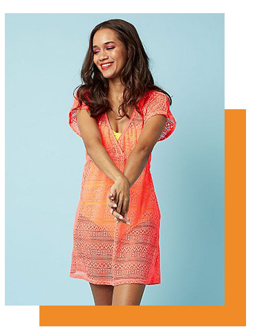 Channel a bright orange cover-up