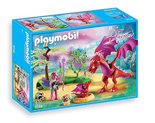 Explore a magical world with this Playmobil set, complete with mystical fairy dragon and her hatchling