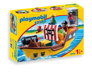 Set sail on an adventure on a Playmobil pirate ship. It comes with a firing water cannon, captain and first mate