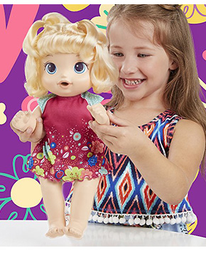 Little ones will love dressing this poseable doll, combing her hair, and listening to all the fun things she says