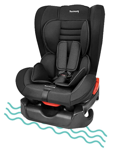 This car seat includes a full 5-point safety harness with a 1-touch, smooth upfront adjuster for the perfect fit on every trip