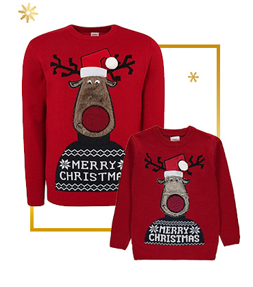 Shop our range of matching Christmas jumpers for you and your little one