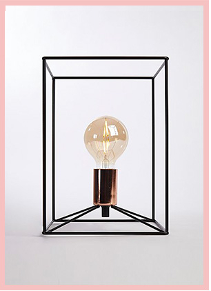 Geometric wire table lamp