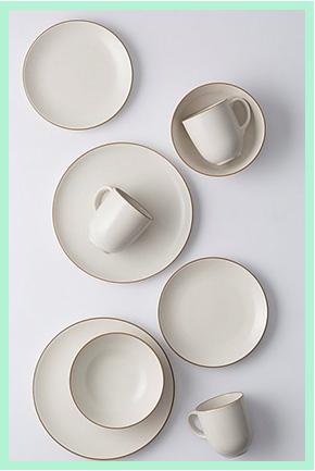 Matching white plates and mugs