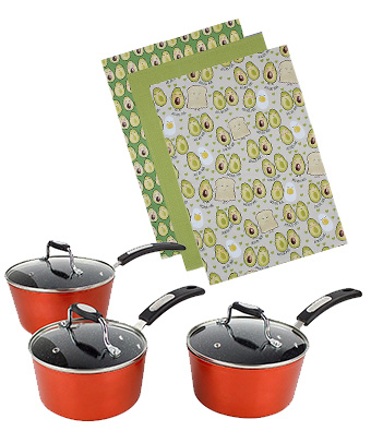 Set of three saucepans and avocado towels
