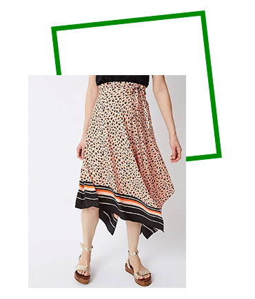 Add an injection of colour and wild style with this fabulously fun animal print skirt