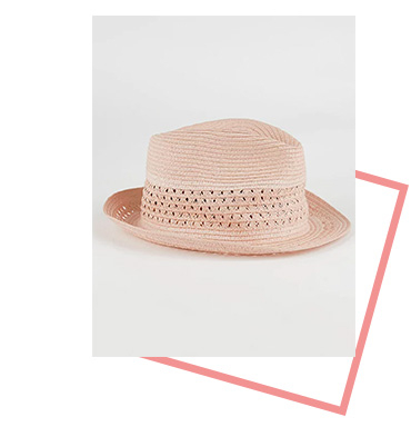 Add the perfect summer accessory to your outfit with this pink trilby hat
