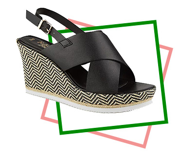 These black woven chevron wedges have a gold buckle and a cross-strap front