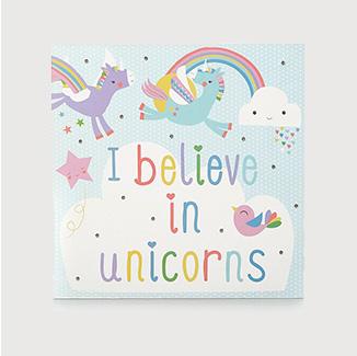 Unicorns & rainbows light up wall canvas