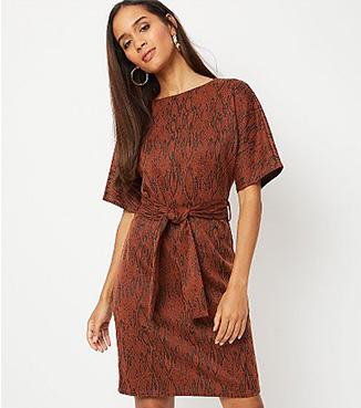 Woman wearing a tan brown animal print jacquard belted dress