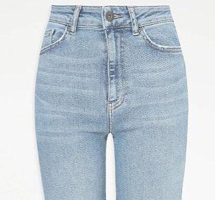 Light wash blue jeans.