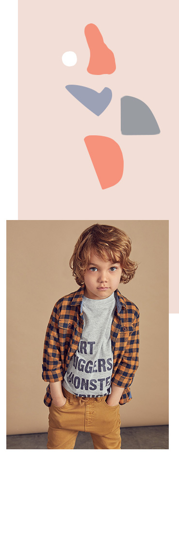 Kit them out in style with a checked shirt, slogan T-shirt and trousers