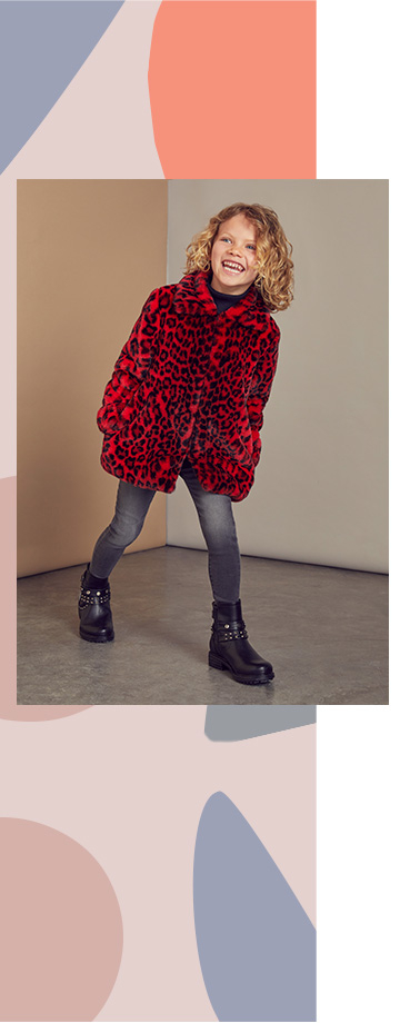 Update their winter wardrobe with this bright red leopard print coat