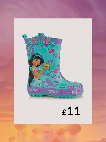 We love Princess Jasmine, and we love how pretty and practical these jersey lined Disney wellies are