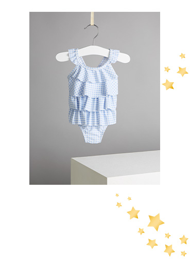 This blue gingham swimming costume is a stylish choice for their first swimming lessons
