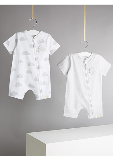 Add comfort to your baby's day with these two jersey rompers