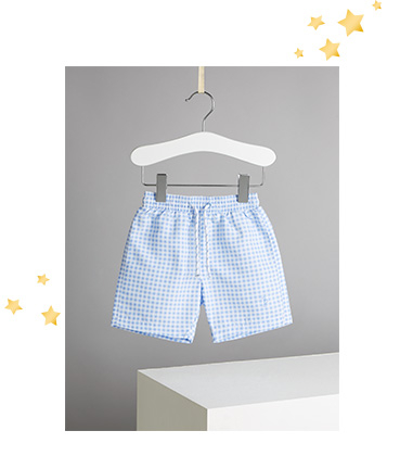 These blue gingham swim shorts are perfect for little learners