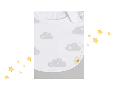 These two cloud print bibs are an essential for mealtimes