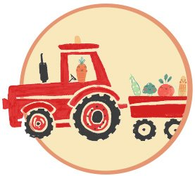 Illustrated red tractor and wagon full of vegetables in a yellow circle.