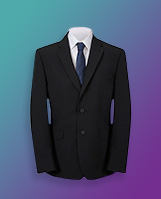 Product image of black suit jacket with tie and shirt