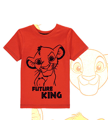 Printed with a young Simba, this orange Disney T-shirt is a great choice for weekend dressing