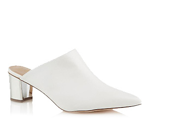 Elevate your look with a pair of white faux leather heel sandals