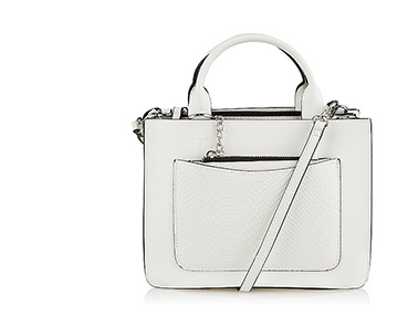 This white mini faux leather tote bag will make a chic addition to any neutral-themed outfit